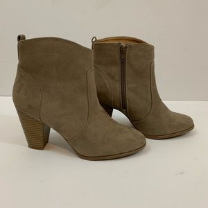 Express Booties Beige Block Heel Ankle Boots
